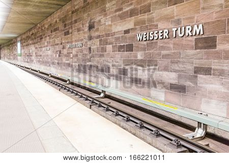 View Of Weisser Turm Subway Station In The Old Town Part Of Nuremberg