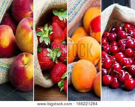 a collageof different  fruit in jute bags