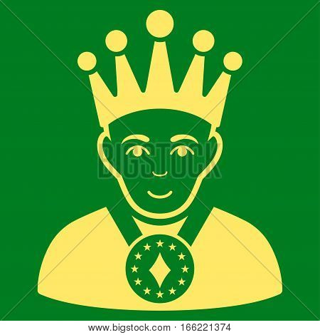 King vector icon. Flat yellow symbol. Pictogram is isolated on a green background. Designed for web and software interfaces.