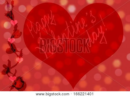 Valentines day background with hearts. Red handmade greeting card