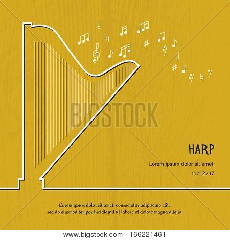 Abstract music harp cover. Graphic vector poster illustration. Modern cute card line background. Sound concept. Invitation, packaging element
