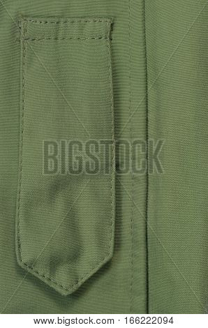 Olive Drab Green ECWCS Parka Rank Insignia Badge Loop Closeup, Blank Empty Vertical Apparel Background Copy Space, Front Placket Storm Flap, Large Detailed Macro