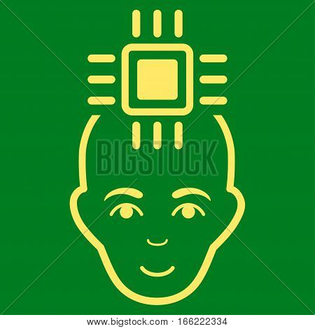 Neural Computer Interface vector icon. Flat yellow symbol. Pictogram is isolated on a green background. Designed for web and software interfaces.