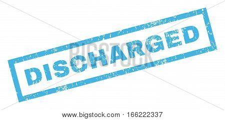 Discharged text rubber seal stamp watermark. Caption inside rectangular shape with grunge design and unclean texture. Inclined vector blue ink sign on a white background.