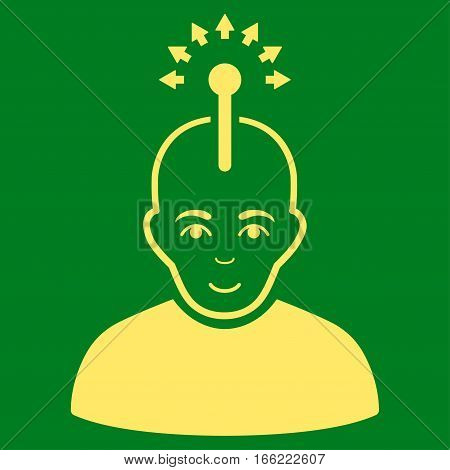 Optical Neural Interface vector icon. Flat yellow symbol. Pictogram is isolated on a green background. Designed for web and software interfaces.