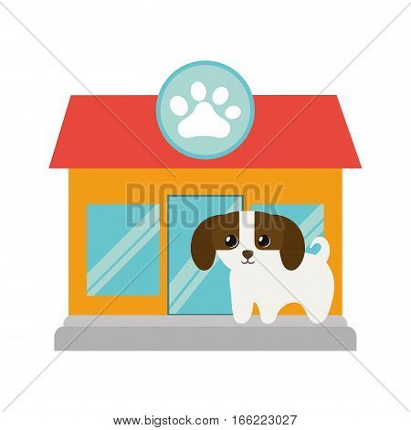 puppy little canine adorable pet shop facade paw print vector illustration eps 10