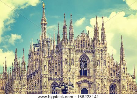 Close-up facade view of Duomo di Milano (Milan Cathedral) Milan Italy. Filtered vintage ink color style