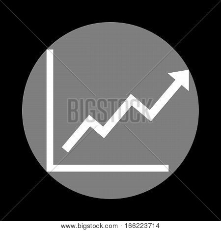 Growing bars graphic sign. White icon in gray circle at black background. Circumscribed circle. Circumcircle.