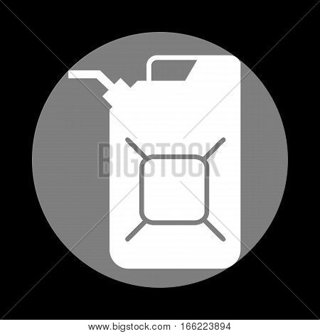 Jerrycan oil sign. Jerry can oil sign. White icon in gray circle at black background. Circumscribed circle. Circumcircle.