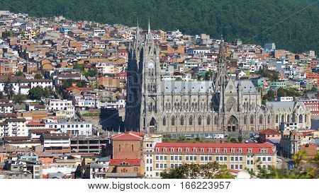 Quito, Pichincha / Ecuador - January 22 2016: Aerial view of the Basilica of the National Vow is located in the historic center of Quito. It is the largest neo-Gothic basilica in the Americas