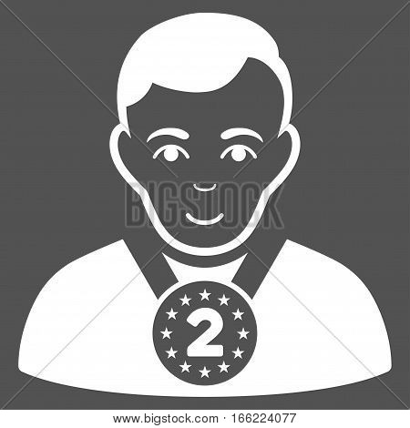 2nd Prizer Sportsman vector icon. Flat white symbol. Pictogram is isolated on a gray background. Designed for web and software interfaces.