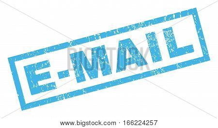 E-Mail text rubber seal stamp watermark. Caption inside rectangular banner with grunge design and dust texture. Inclined vector blue ink emblem on a white background.