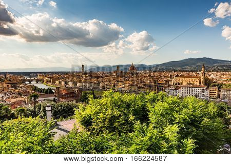Florence cityscape overlook from the Piazzale Michelangelo