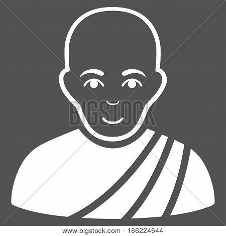 Buddhist Monk vector icon. Flat white symbol. Pictogram is isolated on a gray background. Designed for web and software interfaces.