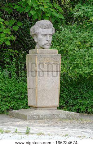 The monument of Vassil Petleshkov an Apostle of the Uprising in the historic town of Bratsigovo Bulgaria.