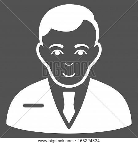 Businessman vector icon. Flat white symbol. Pictogram is isolated on a gray background. Designed for web and software interfaces.
