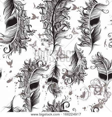 Fashion art pattern with hand drawn feathers in floral swirls