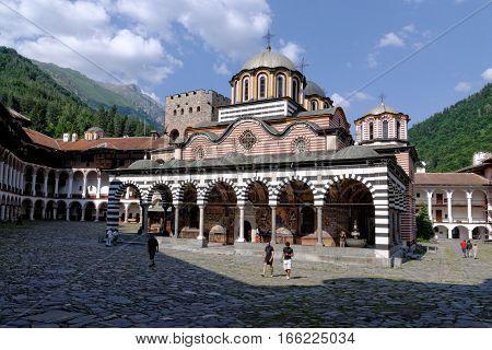 RILA MONASTERY, BULGARIA - JULY 13, 2011. World Heritage site Monastery of St.Ivan of Rila - Rila monastery with church Sveta Bogorodiza.