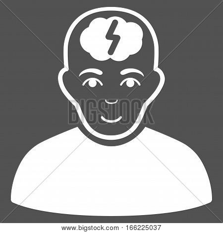 Clever Boy vector icon. Flat white symbol. Pictogram is isolated on a gray background. Designed for web and software interfaces.