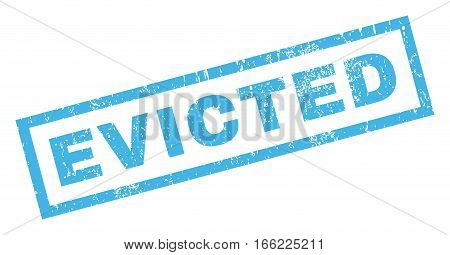 Evicted text rubber seal stamp watermark. Tag inside rectangular banner with grunge design and unclean texture. Inclined vector blue ink sign on a white background.