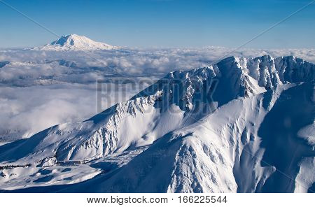 Mount Saint Helens Rim and Crater Winter View with Mount Adams in the Background