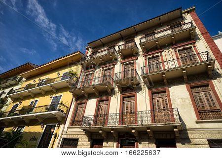 June 15, 2016 Panama City, Panama: renovated colonial buildings in the Casco Viejo area