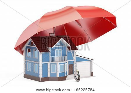 Home security and protection concept house with umbrella. 3D rendering isolated on white background
