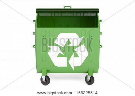 opened green garbage container 3D rendering on white