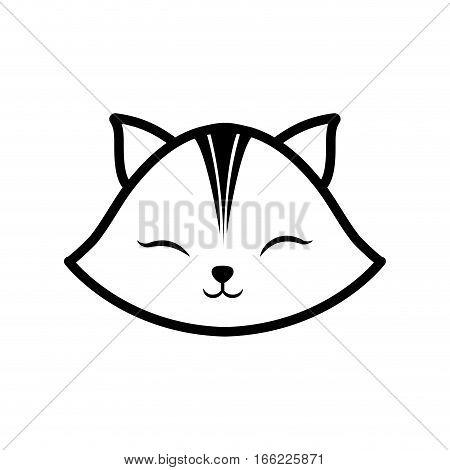 face cat clossed eyes feline outline vector illustration eps 10