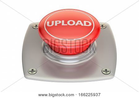 Upload Red button 3D rendering isolated on white background