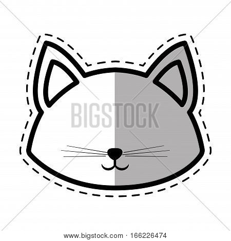 face cat pedigree feline adorable dot line shadow vector illustration eps 10