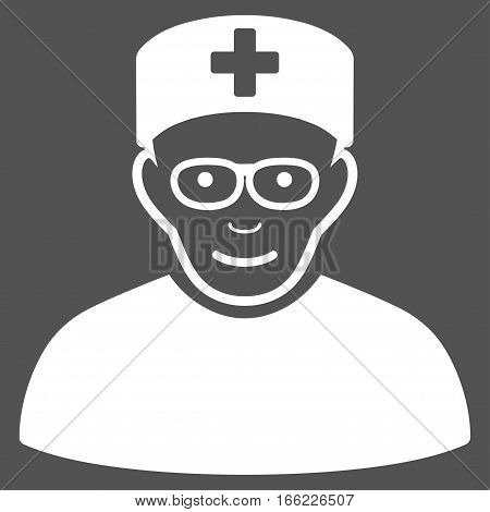 Medical Specialist vector icon. Flat white symbol. Pictogram is isolated on a gray background. Designed for web and software interfaces.