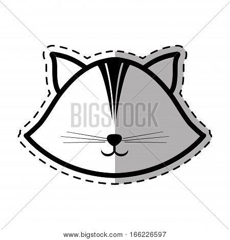 face cat feline animal dot line shadow vector illustration eps 10