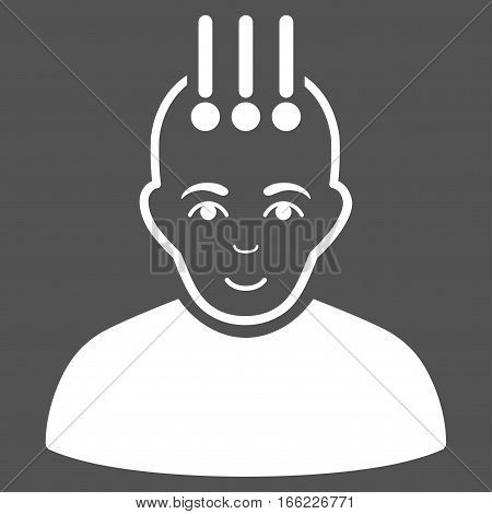 Neural Interface vector icon. Flat white symbol. Pictogram is isolated on a gray background. Designed for web and software interfaces.