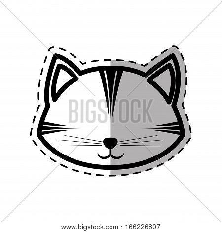 face cat feline curious small dot line shadow vector illustration eps 10