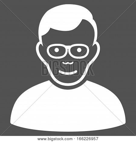 Pensioner vector icon. Flat white symbol. Pictogram is isolated on a gray background. Designed for web and software interfaces.