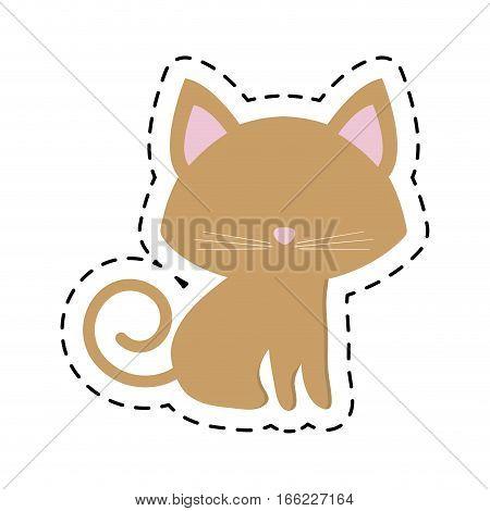 cat pedigree feline adorable cut line vector illustration eps 10