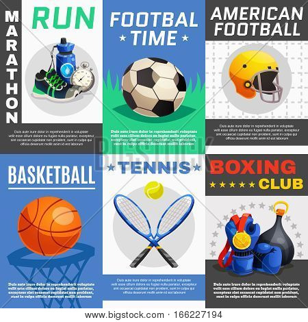 Six rectangular sport posters set with appropriate illustrations for different sports with description text vector illustration