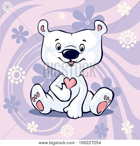 Polar Bear hold hear sitting on abstract floral purple vector background - cartoon illustration valentines day