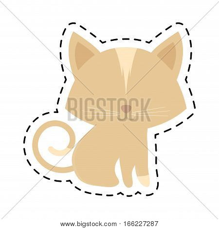 cat animal domestic furry cut line vector illustration eps 10