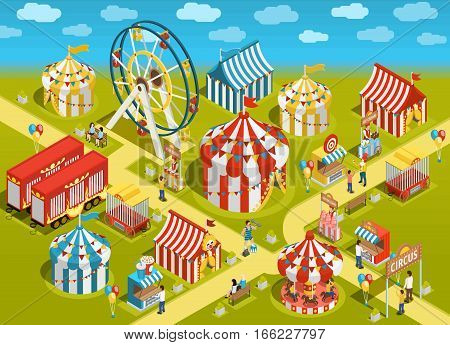 Amusement park travel circus attractions colorful isometric poster with classic striped tents and ferris observation wheel vector illustration