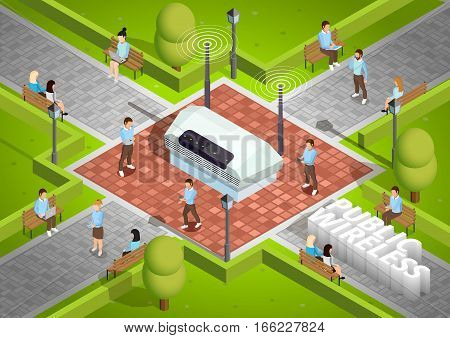 Public wireless technology access isometric poster with symbolic wifi internet connection router outdoor and smartphone users vector illustration
