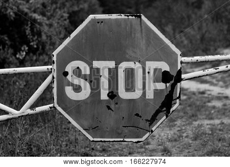 Grunge old stop traffic sign dirty old