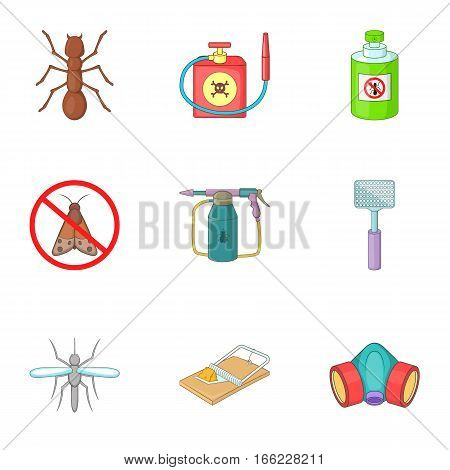 Insect destruction icons set. Cartoon illustration of 9 insect destruction vector icons for web