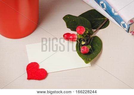 Good morning with hot chocolate on wooden table with love blank card for valentines day concept,