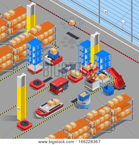 Automatic robotic warehouse section isometric interior composition with scoop lifters drones and  shelves with similar boxes vector illustration