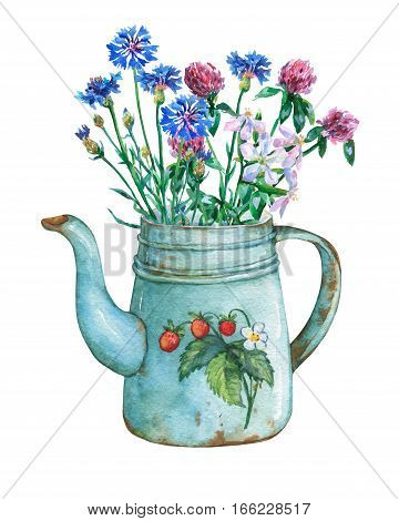 Vintage blue metal teapot with strawberries pattern and bouquet of wild flowers. Hand drawn watercolor painting on white background.