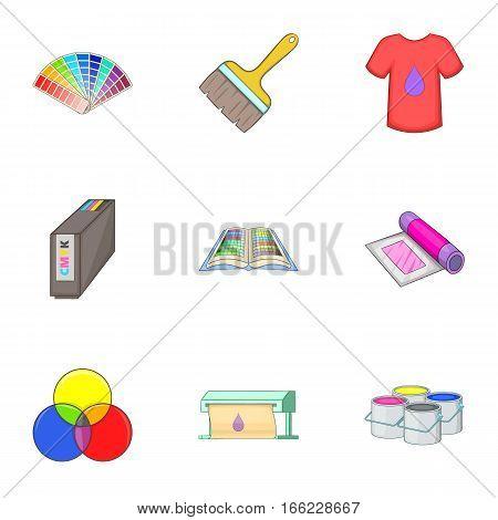 Printing polygraphy icons set. Cartoon illustration of 9 printing polygraphy vector icons for web