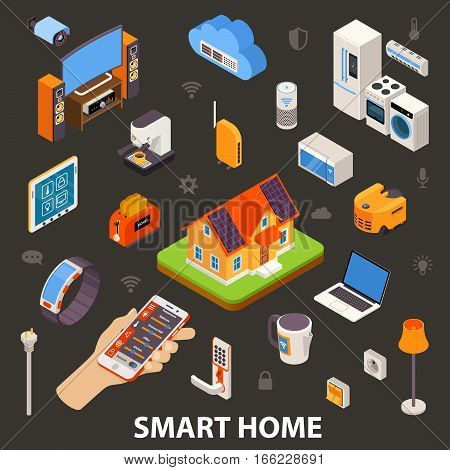 Smart home best automatic electronic devices choice with remote control in owners hand  isometric poster vector illustration