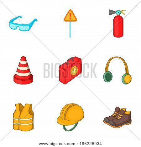 Road working equipment icons set. Cartoon illustration of 9 road working equipment vector icons for web